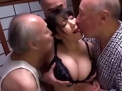 Busty Slut Gang-fucked by Older Men to Creampie and Cum on Tits