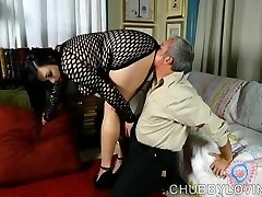 Super handsome fatty in fishnet bodysuit gets blasted with cum