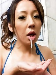Ruhime Maiori Asian doll rubs phallus with sexy and oiled legs