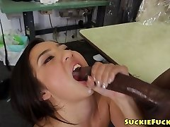 Asian lil babe sucking on two BBCs in trio