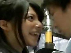 mischievous schoolgirl seduce office workers on bus