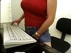 Asian Secretary Lesbian caught by the mailman