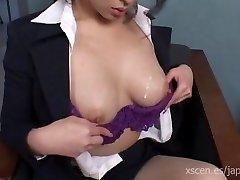Chinami Sakai japanese secretary gives a super-steamy blowjob