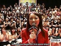 Subtitled CFNM Japanese massive hand-job suck off event