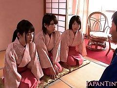 Japanese geishas cocksucking in asian four-way