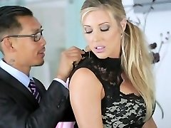 AMWF Samantha Saint interracial three way with Asians