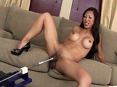 Wonderful FIT ASIAN MILF TIA FUCKS Fake Penis MACHINE ROBOT