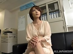 Exciting brief-haired Asian model Yukina enjoys threesome