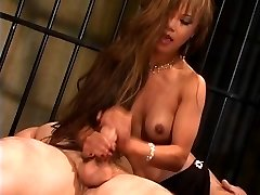 Gorgeous thin chinese slut in high heels rides a yam-sized cock and gets jizzed on