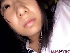 Innocent japanese schoolgirl swallows jism
