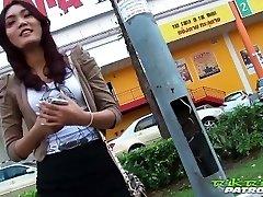 Sexy Thai girl eager for big white knob