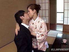 Yuri Matsushima warm mature Asian babe in kimono gets 69