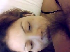 Riding fuck and throat cum with face