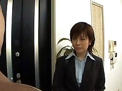 Yukino undresses office suit while blowing