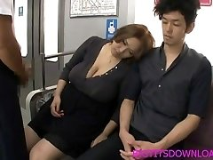 Phat tits asian fucked on train by two guys