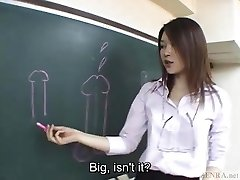 Subtitled Japanese Akira Watase classroom deep throat lecture