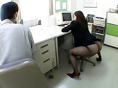 Japanese office girl drives me nasty by airliner1
