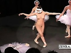 Subtitled Japanese CMNF ballerina recital peels off bare