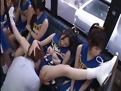 Horny Japanese cheerleaders in a steaming group fuck-fest fuck for all