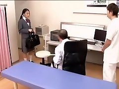 Medical scene of youthful na.ve Asian sweetie getting checked by two kinky physicians
