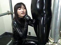 Asian blowjob in total condom