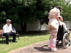 Subtitled bizarre Japanese half bare caregiver outdoors