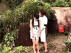 Lil' japanese thighfucked outdoors