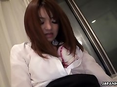 Chinese office lady getting her bush toy pummeled