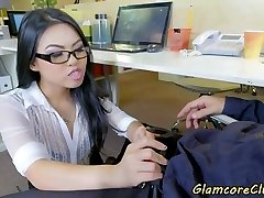 Japanese pornstar drilled in the office