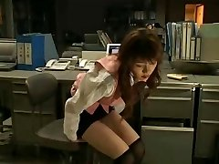 Japanese Girl Self Restrain Bondage In The Office