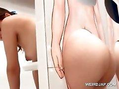 सेक्सी एशियाई लाल बालों वाली चूत में वीर्य