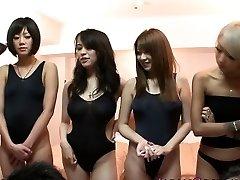 Japanese bathing suit honies in orgy