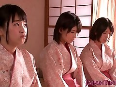Spanked japanese teens goddess man while wanking him off
