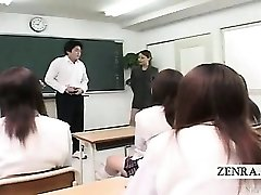 Subtitled CFNM Asian classroom masturbation showcase