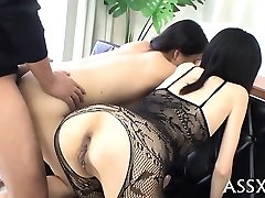 Rough blowbang from japanese playgirl with rump-plug