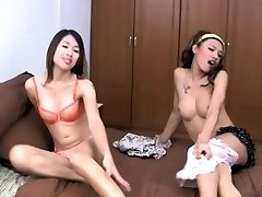 2 horny teenie ladyboys are fooling around before ass poking