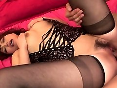 Lady in hot black lingerie has three-way for creampie finish