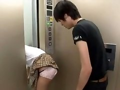 Asian Schoolgirl Trapped on Elevator Three