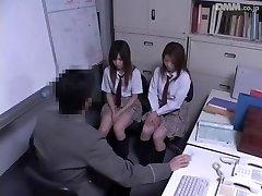 Two Jap schoolgirls fucked in voyeur Japanese hump video
