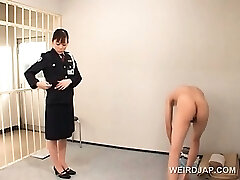 Nasty asian police girl cunt licked by horny convict