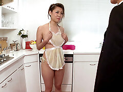 Lady Housewife Begs For Cum In The Kitchen