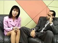 Diminutive Japanese reporter guzzles cum for an interview
