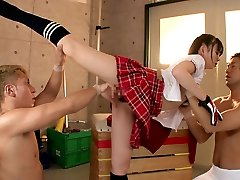 Limber girl Smashes Two Guys In The Gymnasium