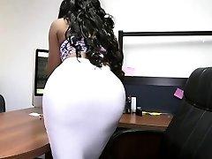 Bubble ass ebony secretary and milky spear