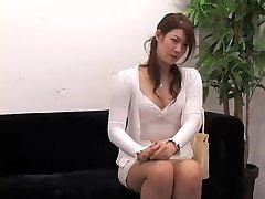 Adorable Jap rides a ramrod in voyeur interview vid