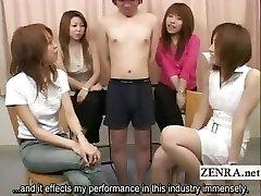 Subtitled Asian CFNM tiny penis examination soiree