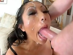 Asian mega-slut deepthroat to facial
