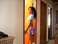 Naughty japanese schoolgirl jizz-shotgun sucking lessons