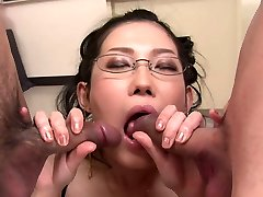 Bitchy Chinese hottie in glasses Yui Komine blows 2 hard lollicocks