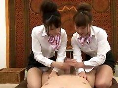 Crazy Japanese chick Hinata Tachibana, Hiyori Wakaba, Eri Ouka in Horny Handjobs, 3somes JAV movie